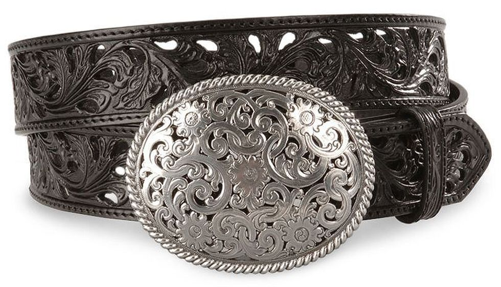 Tony Lama Black Filigree Leather Belt, Black, hi-res