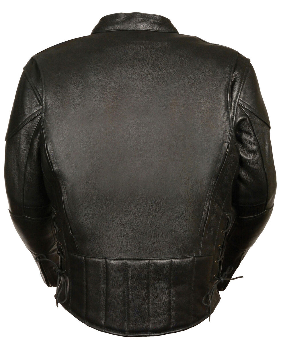 Milwaukee Leather Men's Side Lace Vented Scooter Jacket - Tall, Black, hi-res