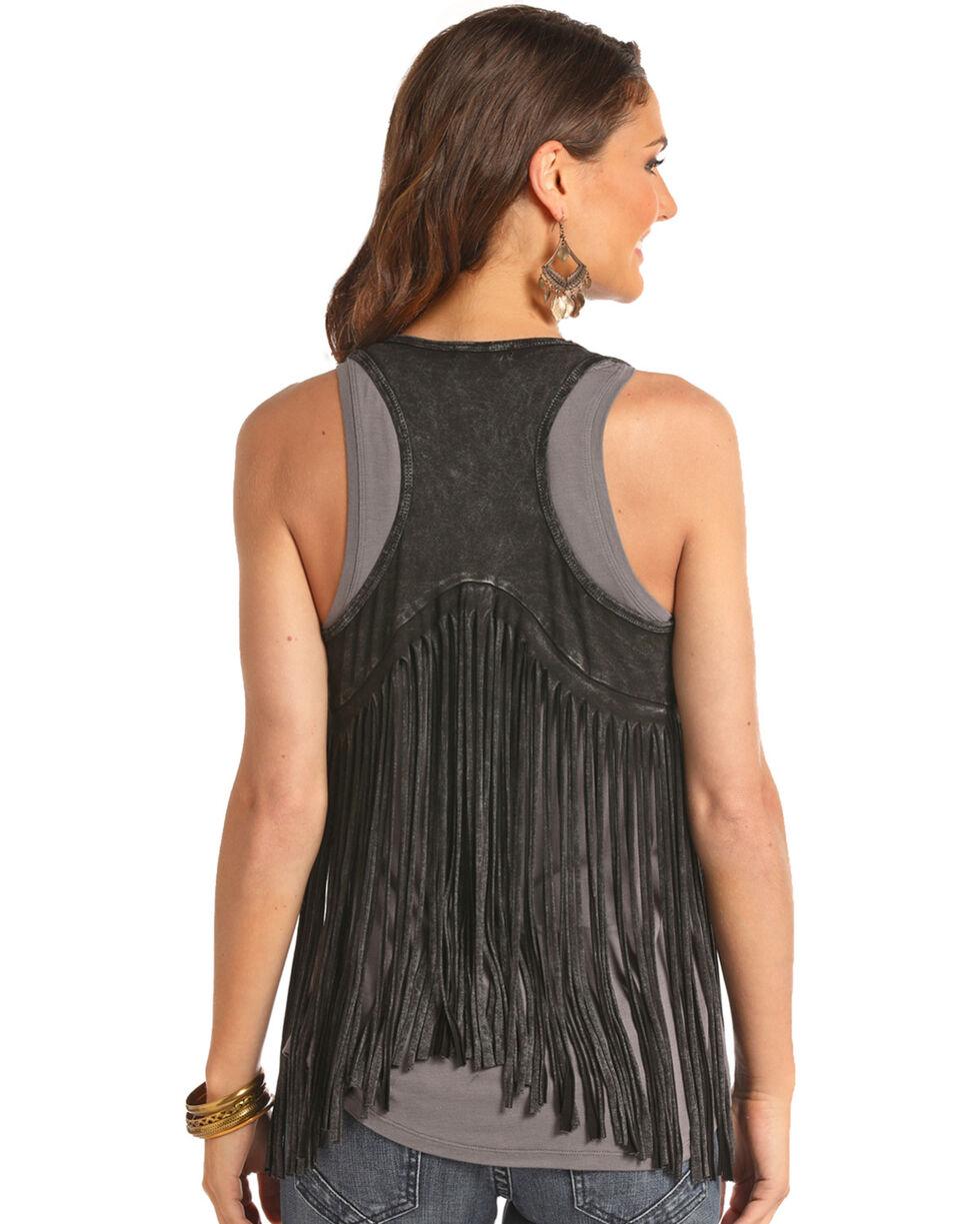 Rock & Roll Cowgirl Women's Black Double Fringe Vest , Black, hi-res