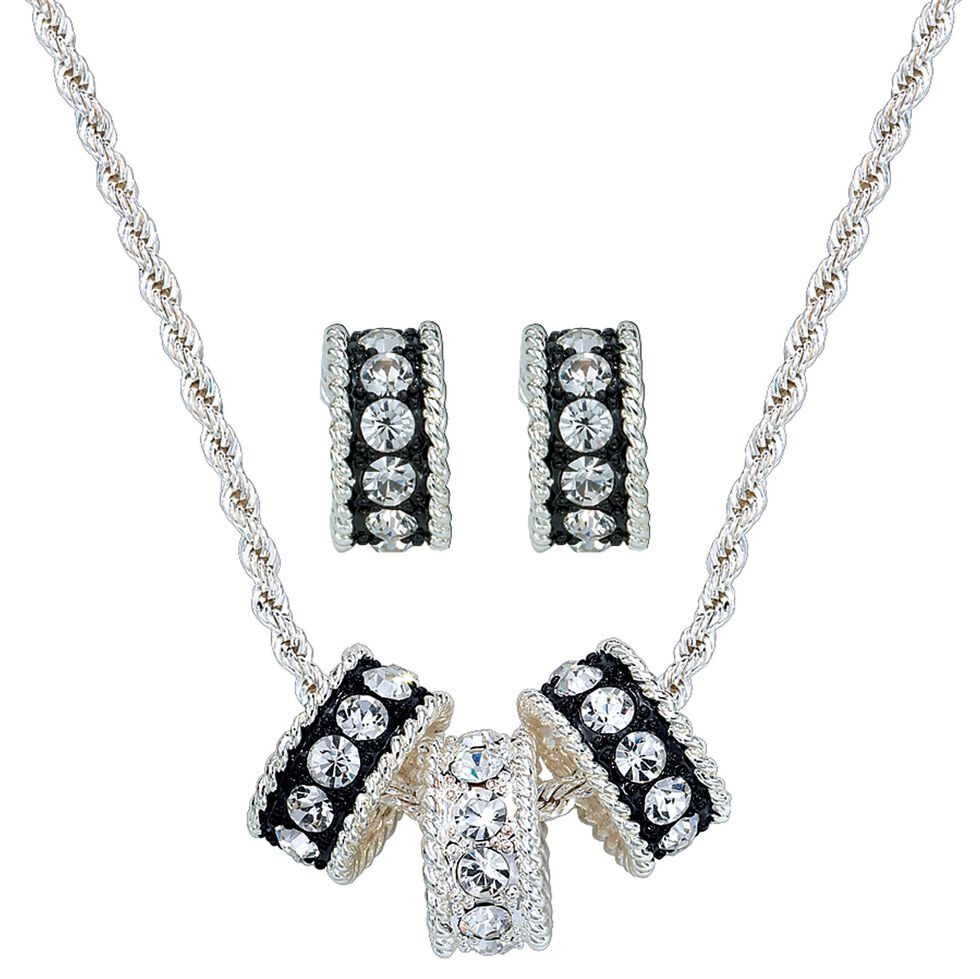 Montana Silversmiths Triple Rings Necklace & Earrings Set, Silver, hi-res