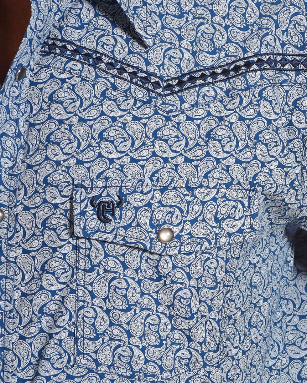 Cowboy Hardware Men's Blue Mini Paisley Print Shirt , Blue, hi-res