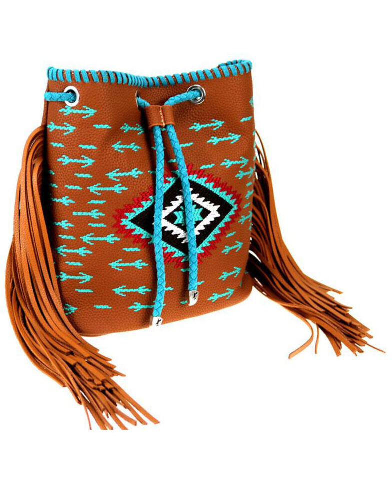 Montana West Women's Embroidered Aztec Drawstring Backpack, Brown, hi-res
