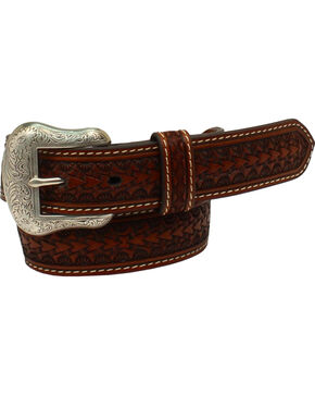 Nocona Boys' Rawhide Scalloped Lacing Conchos Western Belt , Tan, hi-res