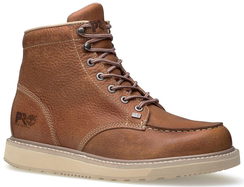 "Timberland Pro Barstow 6"" Lace-Up Wedge Work Boots - Round Toe, Rust, hi-res"