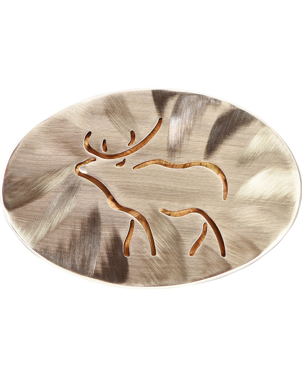 American Heritage Stainless Buckles Line Elk National Museum of Wildlife Belt Buckle, Silver, hi-res