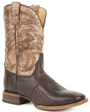 Roper Men's Brown Deadwood Ostrich Leg Boots - Square Toe, Brown, hi-res