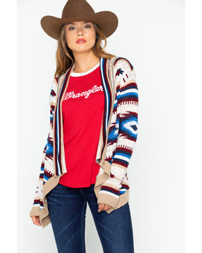 Rock and Roll Cowgirl Women's Americana Aztec Cardigan, Tan, hi-res