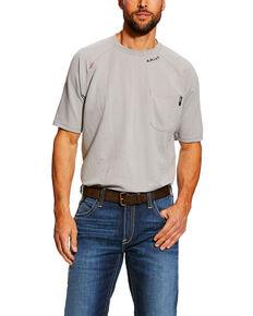 Ariat Men's FR Silver Fox Base Layer Short Sleeve Work Pocket T-Shirt  , Grey, hi-res