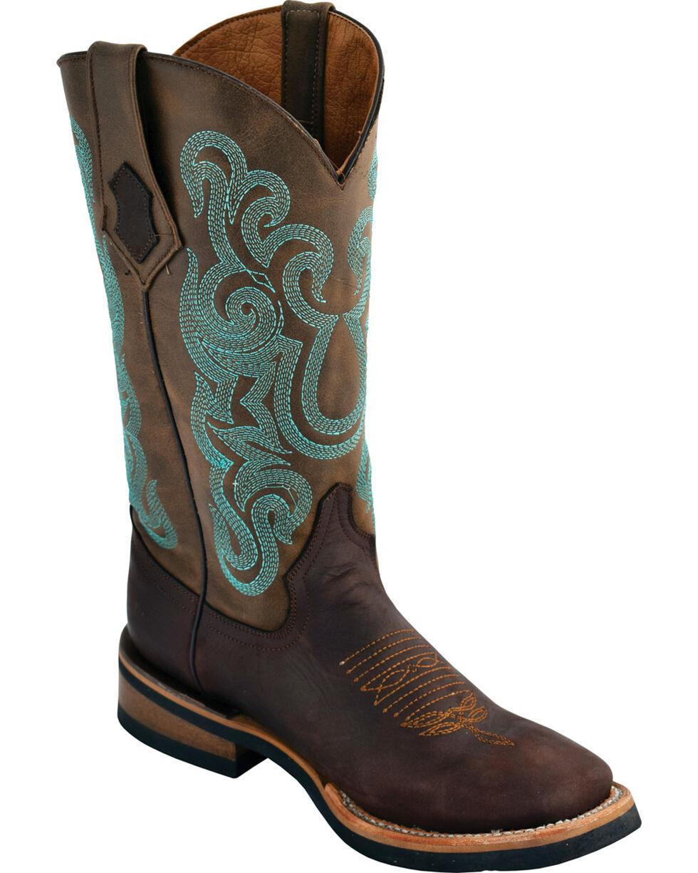 Ferrini Women's Maverick Dark Chocolate Cowgirl Boots - Square Toe , Chocolate, hi-res