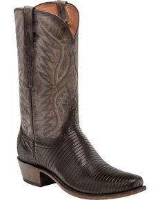 Lucchese Men's Handmade Miles Distressed Lizard Western Boots - Snip Toe, Black, hi-res