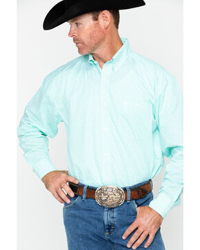 George Strait by Wrangler Men's Pattern Long Sleeve Western Shirt , Green, hi-res
