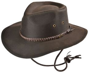 Outback Trading Co. Brown Grizzly UPF50 Sun Protection Oilskin Hat, Brown, hi-res