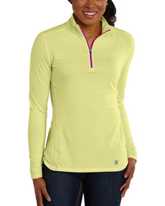 Carhartt Women's Force Performance Quarter-Zip Shirt, Yellow, hi-res