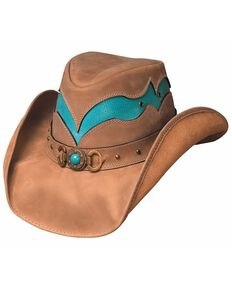 Bullhide Cascade Range Leather Outback Hat, Camel, hi-res