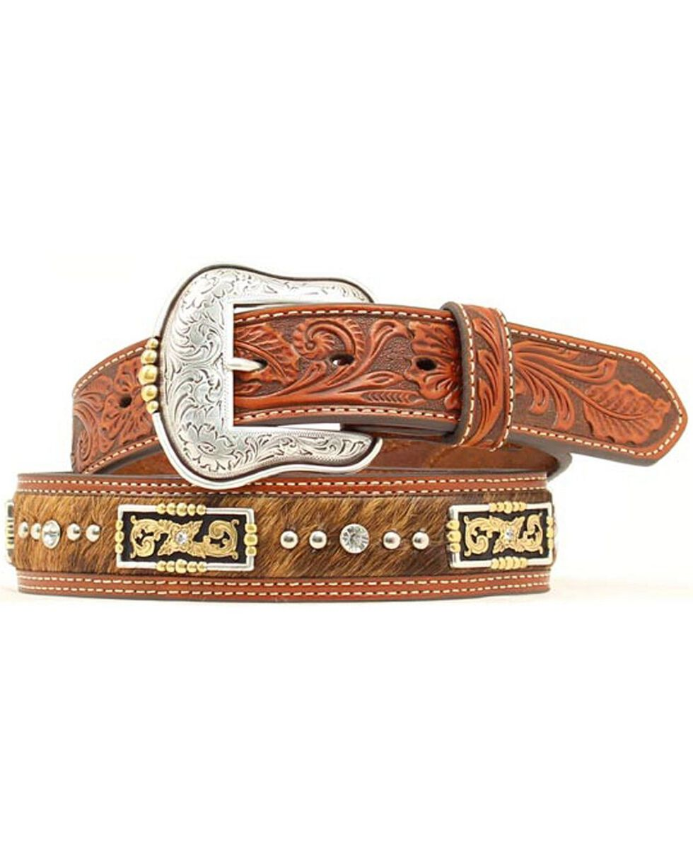 Nocona Floral Tooled Hair on Hide Inlay Concho Studded Belt, Tan, hi-res