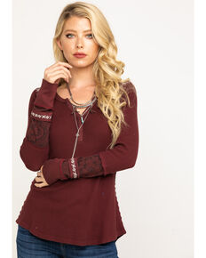 Idyllwind Women's Patched For This Henley, Burgundy, hi-res