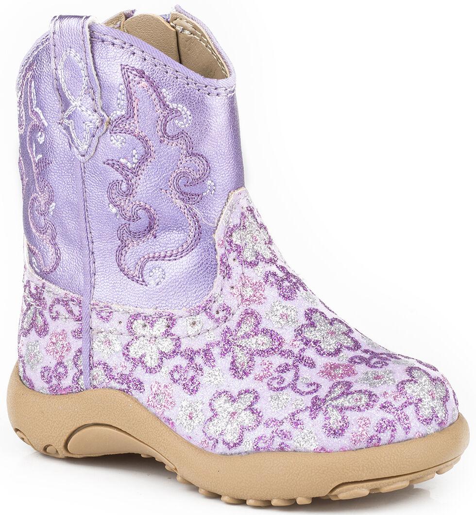Roper Infant Girls' Purple Glitter Booties , Purple, hi-res