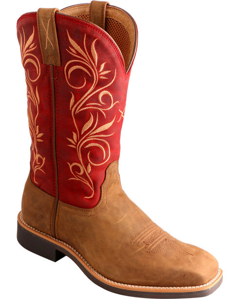 Twisted X Distressed Red Top Hand Cowgirl Boots - Square Toe, Distressed, hi-res