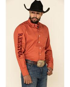 Resistol Men's Orange Sienna Solid Logo Long Sleeve Western Shirt , Orange, hi-res