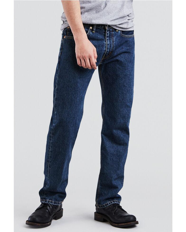 Levis Men's 505 Dark Stonewash Straight Fit Jeans , Indigo, hi-res