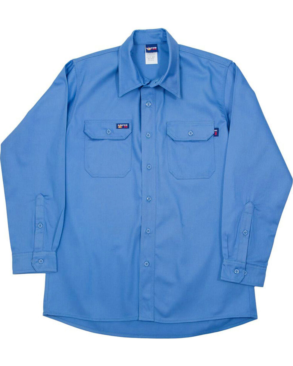 Lapco Men's Blue FR Uniform Shirt, Blue, hi-res