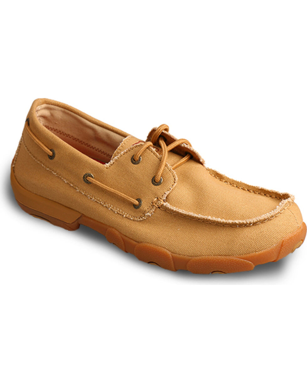 Twisted X Men's Tan Driving Moccasins - Moc Toe , Tan, hi-res