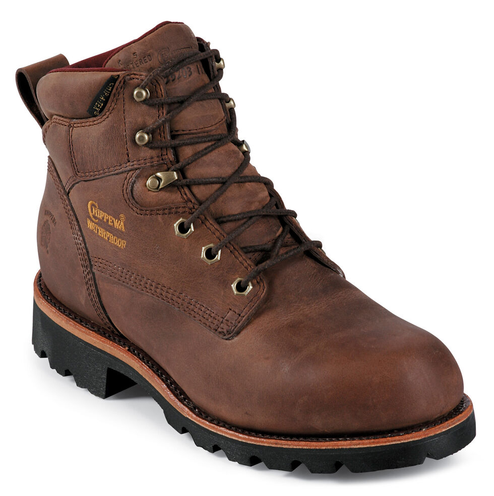 "Chippewa Arctic Insulated Waterproof 6"" Lace-Up Work Boots - Round Toe, Bay Apache, hi-res"
