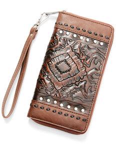 Shyanne Women's Aztec Print Wallet, Cognac, hi-res