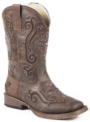 Roper Kids' Pink Crystal Cross Cowgirl Boots - Square Toe, Brown, hi-res