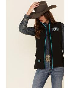 Cowgirl Hardware Women's Black Hawk Embroidered Softshell Vest , Black, hi-res