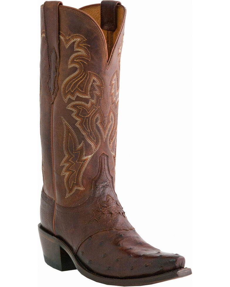 Lucchese Women's Handmade Augusta Full Quill Ostrich Cowgirl Boots - Snip Toe, Sienna, hi-res