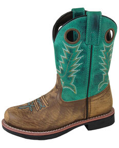 Smoky Mountain Youth Boys' Buffalo Western Boots - Round Toe, Brown/blue, hi-res