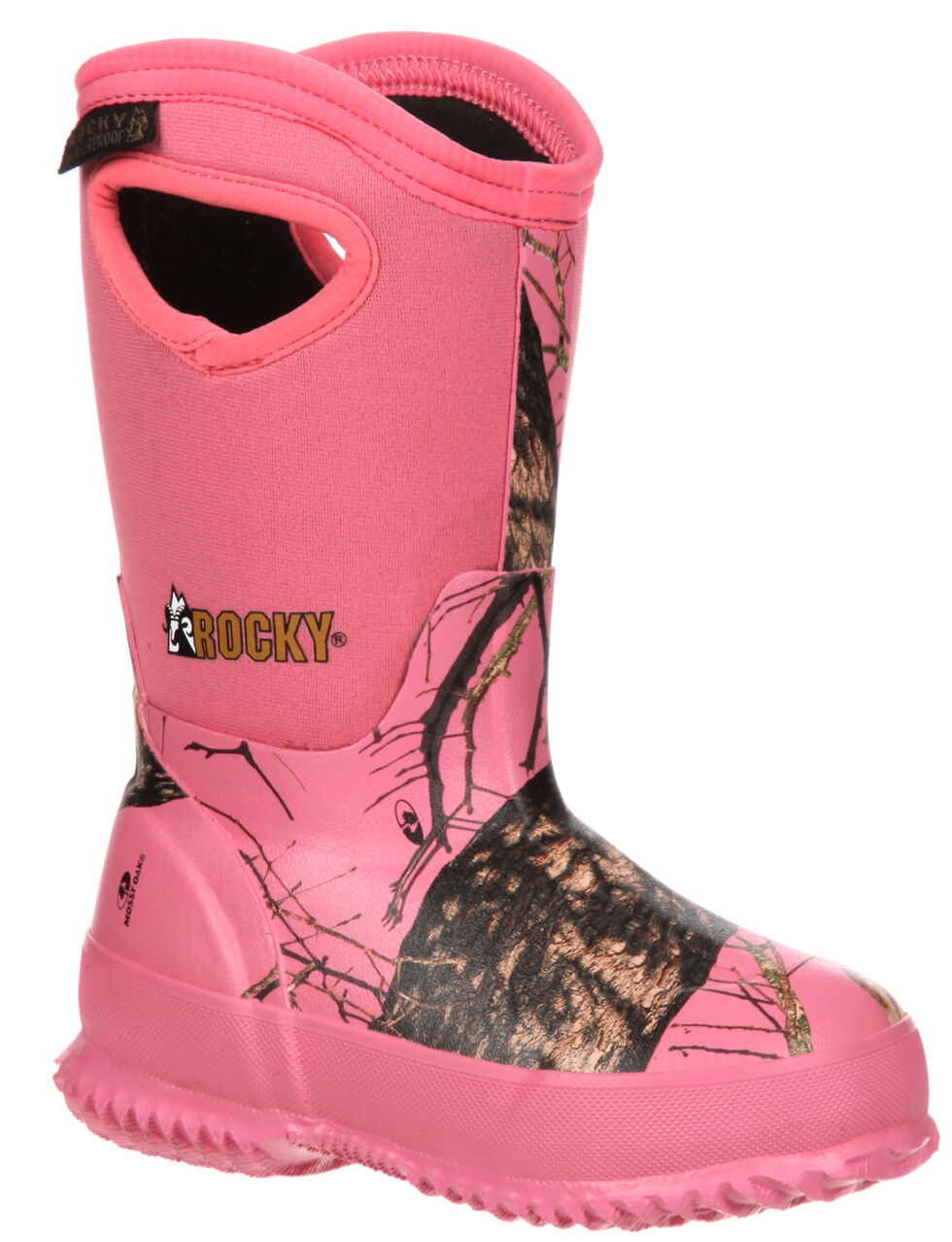 Rocky Girls' Core Pink Camo Waterproof Insulated Rubber Boots - Round Toe, Camouflage, hi-res