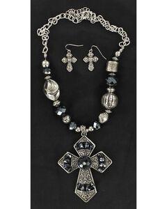 Blazin Roxx Navy Blue Beaded Cross Pendant Necklace & Earrings Set, Silver, hi-res