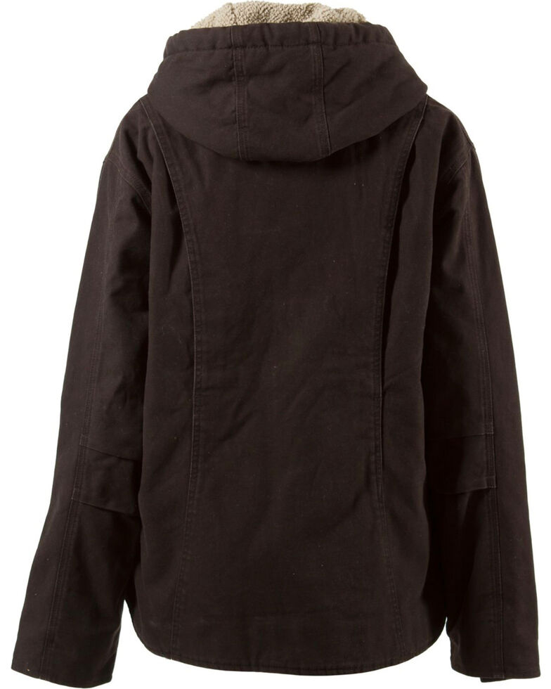 Berne Women's Washed Sherpa-Lined Hooded Coat - Tall, Dark Brown, hi-res