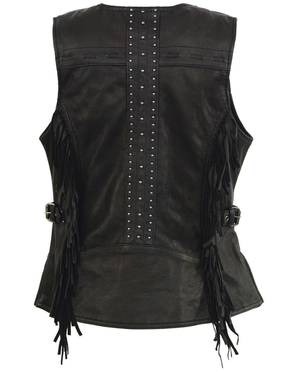 Milwaukee Leather Women's Fringe Snap Front Vest - 4X, Black, hi-res