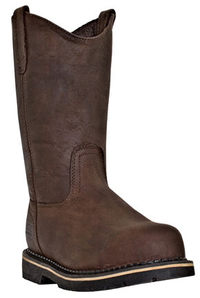McRae Men's Ruff Rider Wellington Steel Toe Work Boots, Dark Brown, hi-res