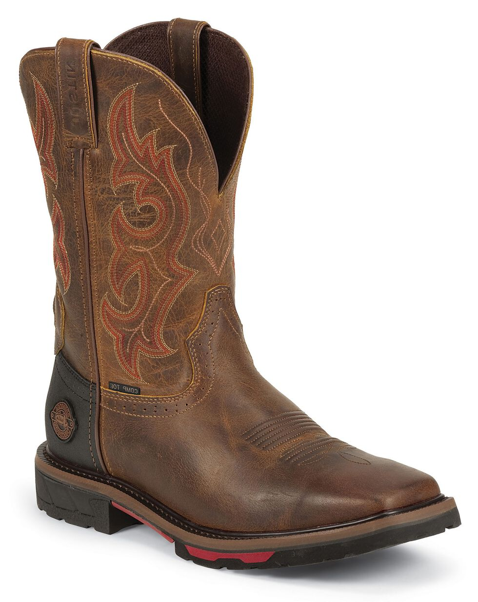 Justin Men's Hybred Rugged Tan EH Western Work Boots - Composite Toe, Tan, hi-res