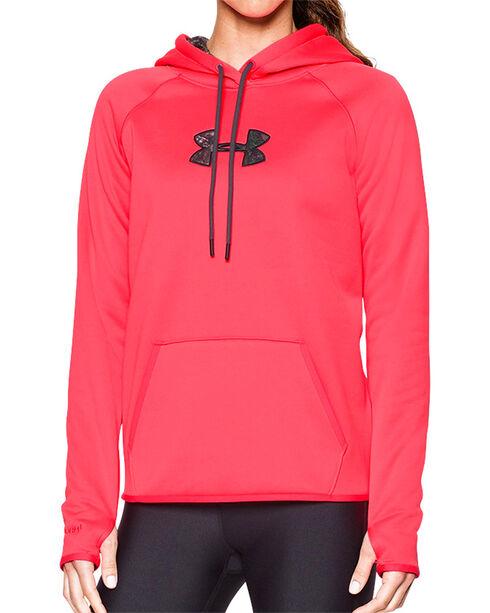 Under Armour Women's Pink Caliber Logo Hoodie, Pink, hi-res