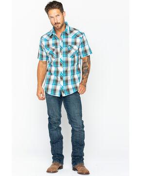 Wrangler Retro Men's Brown Short Sleeve Plaid Shirt , Brown, hi-res