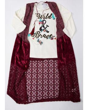 Shyanne Girls' Crushed Velvet Vest Long Sleeve Graphic Top Set , Burgundy, hi-res