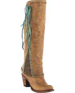 Lane Women's Hoodie Tall Western Boots - Round Toe , Tan, hi-res