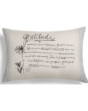 Demdaco Grey Poetic Threads Gratitude Throw Pillow , Grey, hi-res