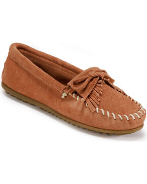 Women's Minnetonka Suede Kilty Moccasins, Pink, hi-res