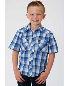 Roper Boys' Classic Multi Plaid Short Sleeve Western Shirt , Blue, hi-res