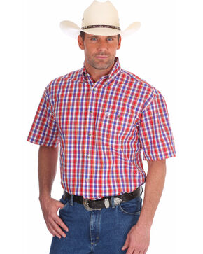 Wrangler Men's Red George Strait Patriotic Plaid Short Sleeve Shirt , Red, hi-res