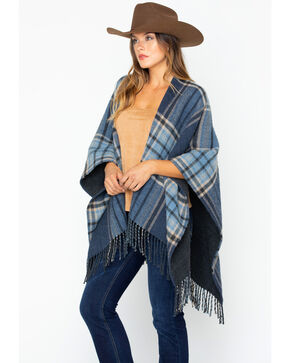 Shyanne Women's Shades of Blue Plaid Poncho, Blue, hi-res