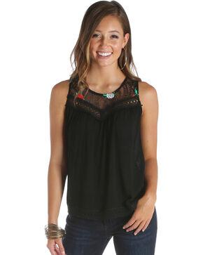 Wrangler Women's Black Embroidered Lace Yoke Top , Black, hi-res