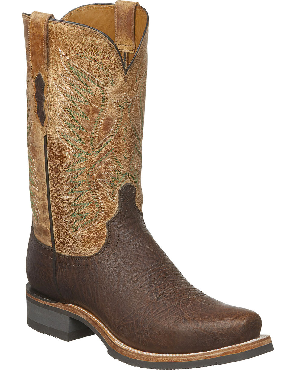 Lucchese Men's Handmade Cooper Brown Bull Shoulder Western Boots - Square Toe, Brown, hi-res