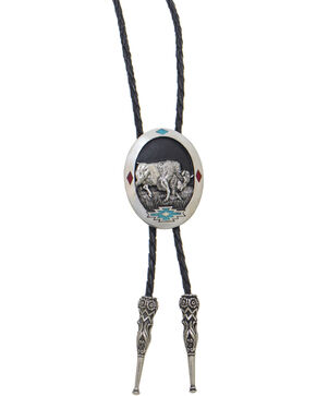 Western Express Bull Bolo Tie, Silver, hi-res